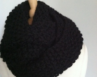 Knitted Soft Bulky Black Seamless Infinity Scarf Handmade Accessories Ready To Ship