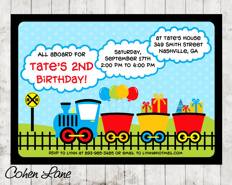 Train Birthday Party Invitation Colorful Train Invitation