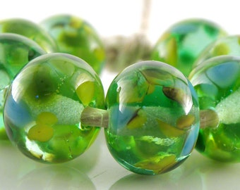 Perfectly Fresh SRA Lampwork Handmade Artisan Glass Donut/Round Beads Made to Order Set of 8 8x12mm