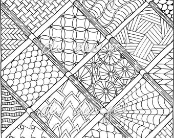 Doodles in Squares - Coloring Page