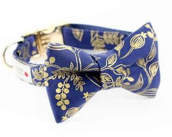 Queen Anne Navy Gold Dog Bowtie Collar - Rifle Paper Co.