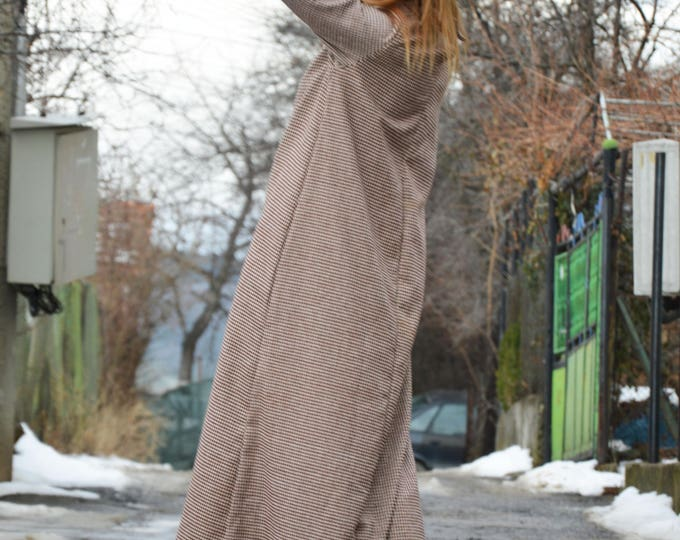 Maxi Long Dress with Collar, Extravagant Plaid Kaftan Dress, Long Sleeves Party Dress, Plus Size Dress by SSDfashion
