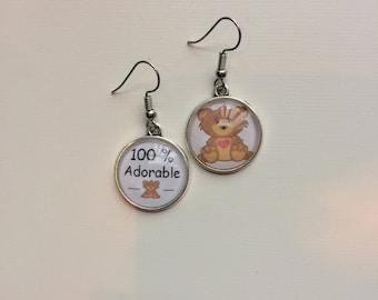 Earrings asymmetric message 100% adorable cabochons