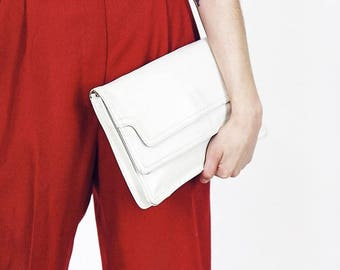 White 80s Leather Clutch Bag