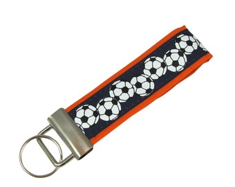 Personalized Fabric Key Chain / Key Fob Navy Blue and Orange Soccer Balls With Optional Initials