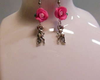 Baby Scuttlebutt Deer Earrings * Pink Floral Doe Fawn Hook Earrings