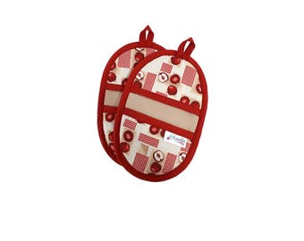 Potholders red apples