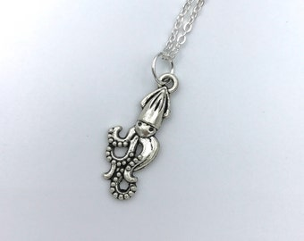 Squid Necklace, Silver Squid Necklace, Squid Jewelry