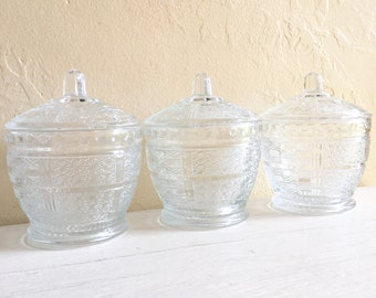 Trio of Matching Mid-Century Modern Glass Jars with Lids Three 3 Stylish Storage Crafts Kitchen Office