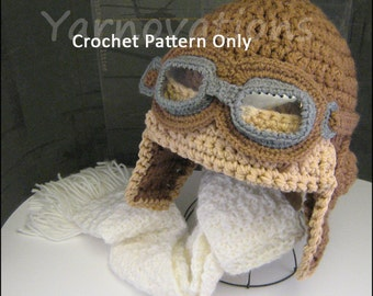 Winter Clothing Children - Pilot - Crochet Aviator Hat & Scarf - Crochet Pattern