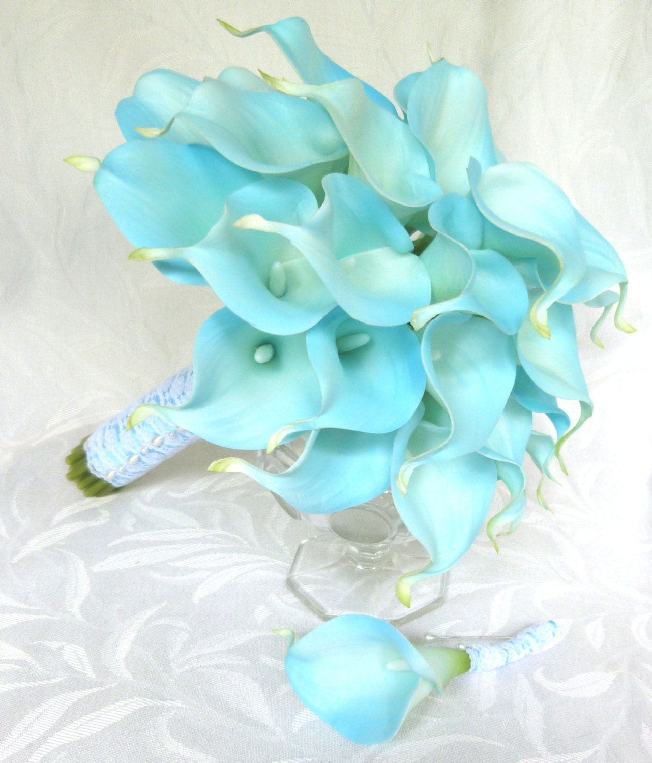 Blue real touch Calla lily wedding bouquet light blue calla