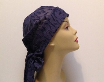 Women's cancer hats and wraps.  Hats for cancer.  Scarves and  wraps.  Hats for chemo.  Blue hats. Poly/rayon blend. Size M 22-23 inches.