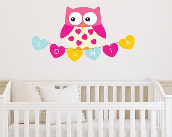 Baby Girl Name Wall Decal   Owl U0026 Custom Name Wall Decor   Children  Personalized Name