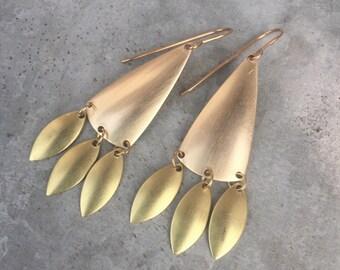 Long Chandelier Earrings, Golden Brass Long Earrings, Raw Brass, Golden, Bohemian, Statement Earring