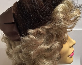 Stunning Vintage Italian Forenza Faux Fur Hat With Satin Bow & Netting