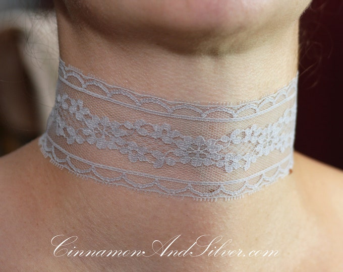 Soft Gray Lace Ribbon Choker Necklace, Gray Romantic Ribbon Choker Necklace, Gray Victorian Lace Choker Necklace, Gray Steampunk Lace Choker