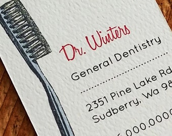 Business Card for Dentist, Toothbrush Business Card - Set of 50