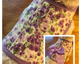Mini floral Small Dog Harness, Made in USA, dog harnesses, pet clothing, perriwinkle