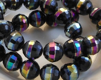 Faceted Rainbow AB Round Crystal Beads (5 Color Choices) 6 pcs 10mm PH-FR10mm-CRYS