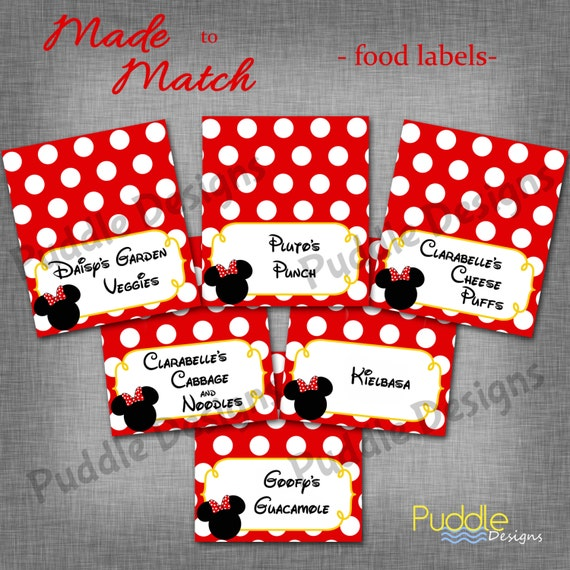 Items Similar To Mickey Or Minnie Mouse Custom Food Labels
