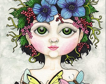 Flower Pixie with Butterflies - Watercolor Painting - Art Print