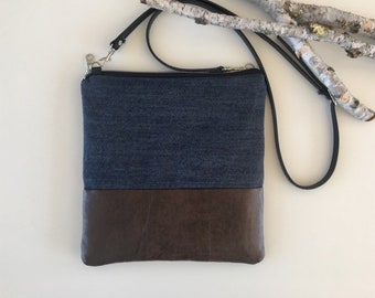 Denim & Vegan Crossbody Purse // Vegan Crossbody Bag // Denim Purse // Handmade Purse // Denim Bag // Shoulder Bag // Adjustable Strap