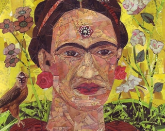 Frida Kahlo Art Collage Painting - Original Artwork Illustration Wall Decor Painting - Mexican Folk Art