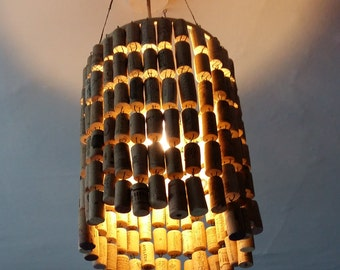 Cork lampshade etsy lovely handmade up cycled used wine cork light shade aloadofball Images