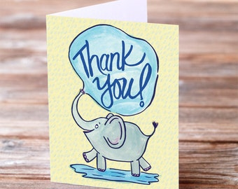 Thank you cute funny elephant trunk hand lettered calligraphy card greeting card