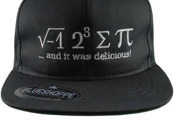 I Ate Some Pi And It Was Delicious Humorous Math Pun White Embroidery on a Black Adjustable Flat Bill Snapback Ball Cap for Kids Age 6 to 14