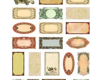 Christmas Labels and Tags Collage Sheet - Blank - Add Your Own Messages - Holiday - Victorian Designs - Instant Download - Printable