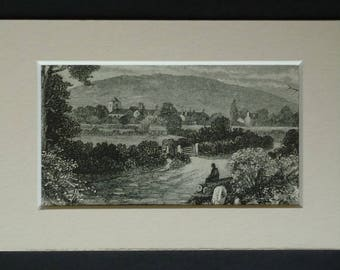 1880s Antique Wrekin Hill Print, Shropshire Decor, Available Framed, Hiker Art, Little Wenlock Gift, Walking Picture, St Lawrence's Church