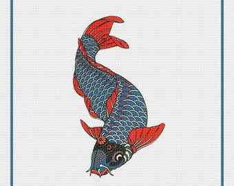 SPRING SALE DIGITAL Download Asian Colorful Koi Counted Cross Stitch Chart