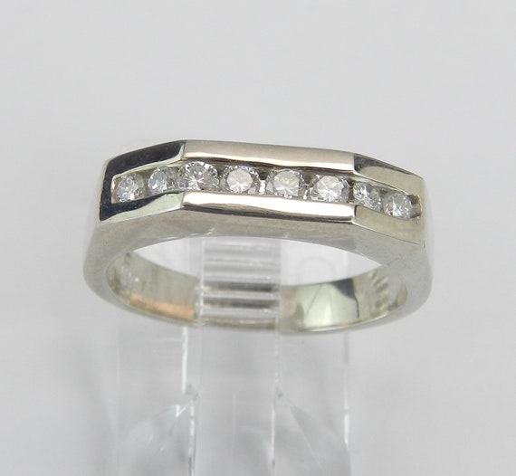 Diamond Wedding Ring Anniversary Band 14K White Gold Size 6 Stackable