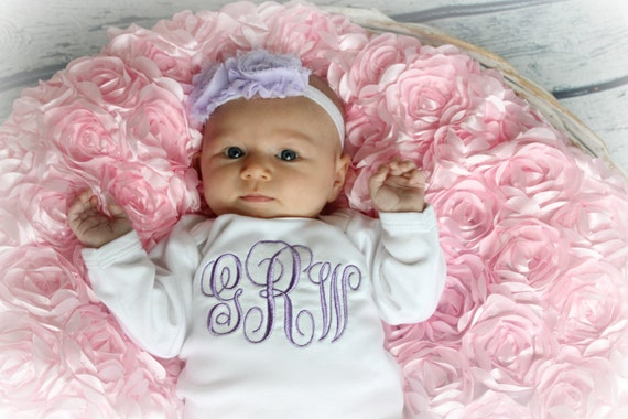 monogram baby girl take home outfit personalized baby girl