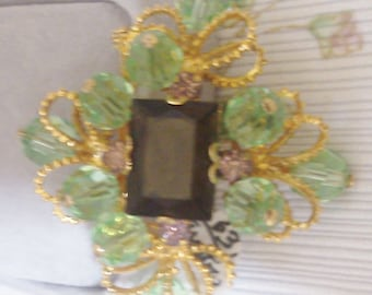 Made in Austria Green and Gold Brooch