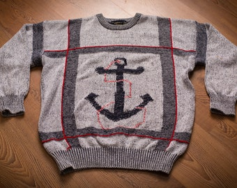 Nautical Anchor Sweater by The Captain's Shoppe, Vintage 1980s-1990s, Sailing, Long Sleeve Knit Crewneck Shirt, Boating