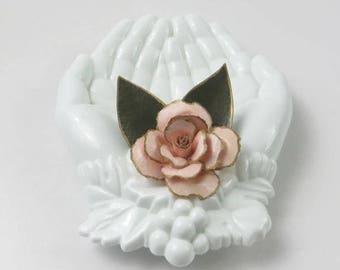 Vintage Paper Rose Brooch, Lapel Pin, Hat Pin