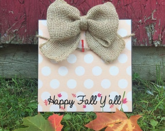 Fall Picture Frame, Happy Fall Y'all, Autumn, Rustic Fall Decor, Burlap Bow