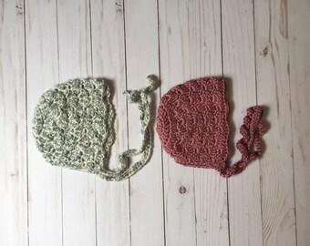 Hand crochet Baby Bonnet, Shell Stitch Bonnet, Lace Bonnet