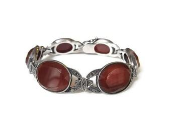 Art Deco Sterling Germany Carnelian Bracelet - Red Gemstone, Marcasites, Sterling Silver, German Jewelry, Art Deco Jewelry, Antique Jewelry