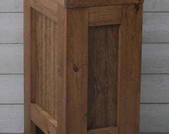 Wood Trash Bin, Kitchen Garbage Can, Wood Trash Can, Rustic Trash Bin, Wooden Trash Bin, Wooden Trash Can, 13 Gallon, Early American Stain