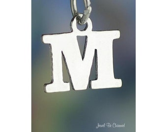 Sterling Silver Small Letter M Charm Initial Capital Letters Solid 925
