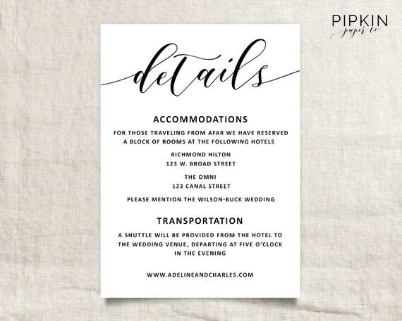 Wedding Invitation Set Printable Wedding Invitations For - Wedding invitation templates: hotel accommodations template for wedding invitations