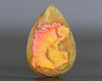Yellow Pendant Druzy Geode Drusy Cabochon Crystallized Gemstone (21686)