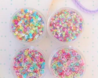 Sequin Stars Rainbow Stars Mix Confetti Sprinkles Mix Jar of Sugar Stars & Hearts Glitter Sequins Mixture