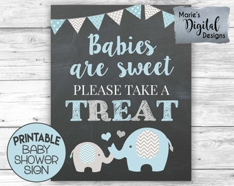 INSTANT DOWNLOAD - Printable Blue Gray Elephant Babies Are Sweet Please Take A Treat Sign / Baby Boy / Decor / Decoration JPEG file / BE001
