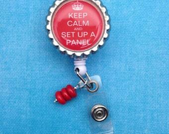 Blood Bank Keep Calm Design Badge Reel Laboratory Lab Week Gift