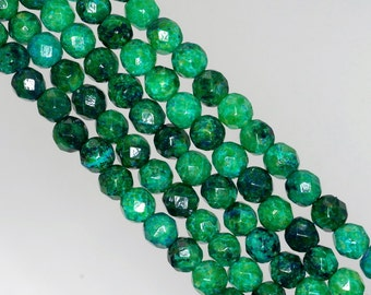 6mm Chrysocolla Gemstone Faceted Round Loose Beads 8 inch Half Strand (90143010-B62)