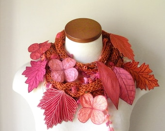 Long and Leafy Scarf with Embroidered Leaves- Flame Orange with Leaves of Coral, Magenta, Salmon, Peach, and Orange- Fiber Art Scarf